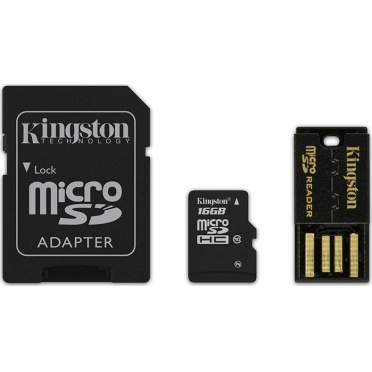 Kingston Micro SDHC Class 10 16GB + adapter + USB reader [MBLY10G2/16GB]